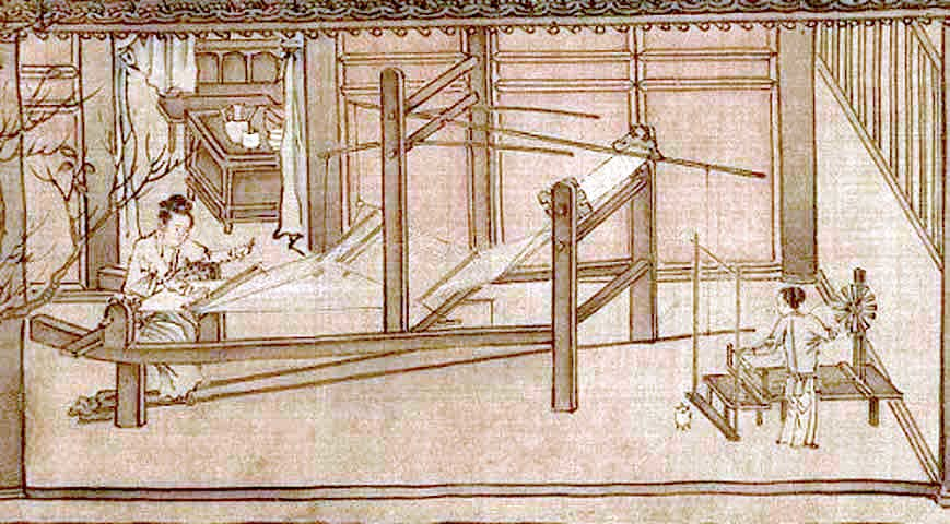 Weaving the silk (Sericulture by Liang Kai, 1200s)