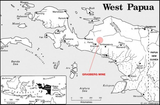 West Papua - Grasberg Mine loc map
