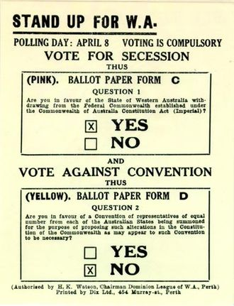 Secessionism in Western Australia - Secessionist 'How To Vote' card, 1933