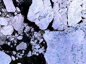Hans Island - Hans Island. NASA Landsat 7 image