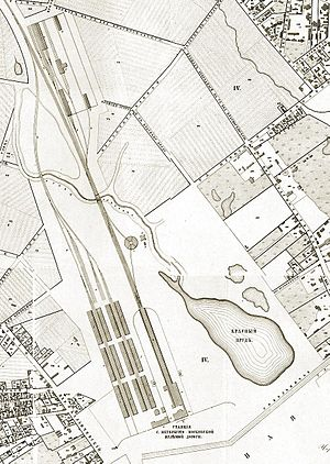 Krasnoselsky District, Moscow - 1852 map of Moscow's first rail terminal, present-day Leningradsky Rail Terminal, with roundhouse and yards, and the pond on Olkhovets Creek