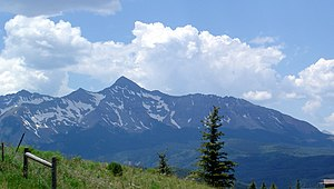 Mount Wilson (Colorado) - Mount Wilson is the peak in the far left background of this photo. (Wilson Peak is in the center foreground.)