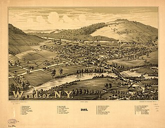 Windsor, New York - Lithograph of Windsor from 1887 by L.R. Burleigh including a list of landmarks