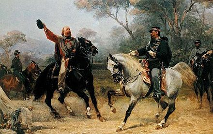 Victor Emmanuel II meets Garibaldi near Teano. The Italian Risorgimento saw Italy unite as one kingdom. With Victor Emmanuel.jpg