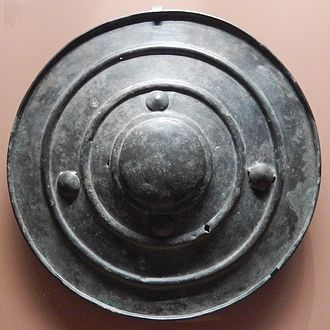 Yetholm-type shield - The Wittenham shield, showing perforations that may have been caused by a spearhead