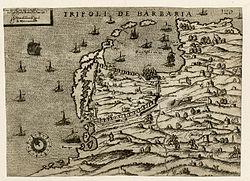 Mapa Tripolisu z roku 1561, krátce po skončení vlády Hospitaller