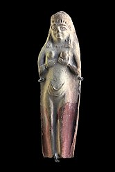 Molded statuette of a naken woman cupping her breasts