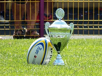 European Women's Sevens Championship - The championship Trophy beside the ball of the 2015 edition.