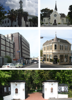 Top right: Yusuffia Mosque in Mosque Road. Top left: Dutch Reformed Church in Wynberg. Center left: Wynberg's Apartheid era police station.  Center right: Victorian building on Wolfe Street.  Bottom: The entrance to Maynardville Park. Bottom .