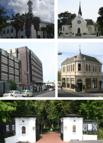 Wynberg, Cape Town - Top left: Yusuffia Mosque in Mosque Road. Top right: Dutch Reformed Church in Wynberg. Center left: Wynberg's Apartheid era police station.  Center right: Victorian building on Wolfe Street.  Bottom: The entrance to Maynardville Park. Bottom .
