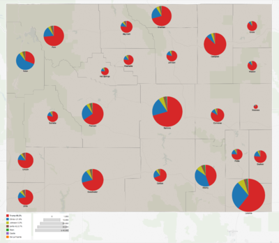 Wyoming 2016 presidential results by county.png