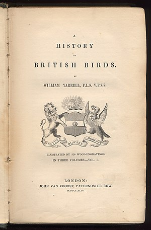 A History of British Birds (1843) - Title page of first edition