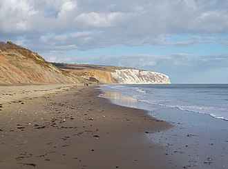 Yaverland - The beach at Yaverland, with Culver Cliff (white chalk) in the distance