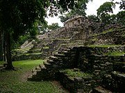 An image of one of the pyramids in the upper level of Yaxchilán