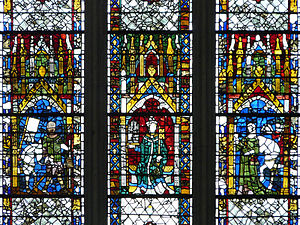 British and Irish stained glass (1811–1918) - The 14th-century glass of west window of York Minster has figures set beneath brightly coloured canopies, adopted by 19th-century designers such as Clayton and Bell