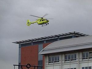 Yorkshire Air Ambulance - G-YAAC landing at Leeds General Infirmary.