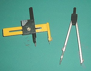 Compass (drawing tool) - A beam compass and a regular compass