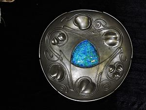 Archibald Knox (designer) - 'Bollelin' Pewter and enamel plate designed by Archibald Knox