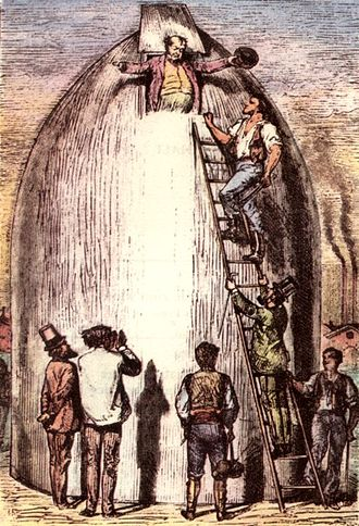 From the Earth to the Moon - The projectile, as pictured in an engraving from the 1872 Illustrated Edition.