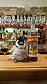 'Mr Penguin' in the Rosa Delle Alpi bar with the local Esino Lario liquor at Wikimania 2016.jpg