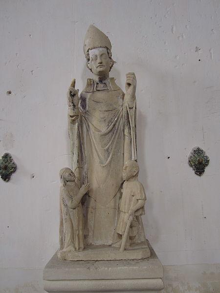 Église Saint-Laurent de Rauville-la-Place Saint évêque thaumaturge avec deux priants à ses pieds