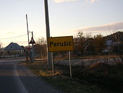 A sign near Perusic.