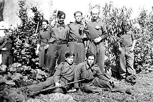 Ahmadiyya Jabrayilov - Ahmadiyya Jabrayilov (with rifle) with his comrades in France during the Second World War. Photo was published in the article about Jabrayilov in Bakinskiy rabochiy (1966). The original is in his house-museum in Shaki.