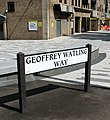 -2018-05-18 Street sign, Geoffrey Watling Way, Carrow Road football stadium, Norwich.jpg