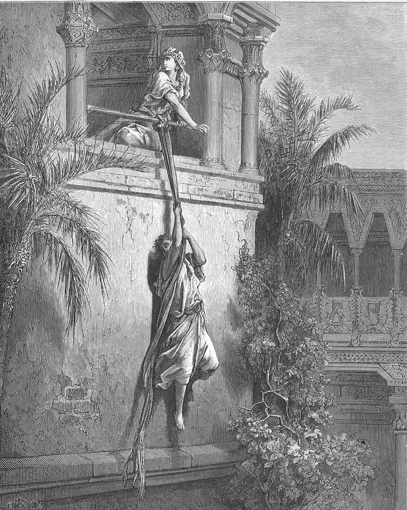 창문을 통해 도망가는 다윗 (귀스타브 도레, Gustave Dore, 1891년)