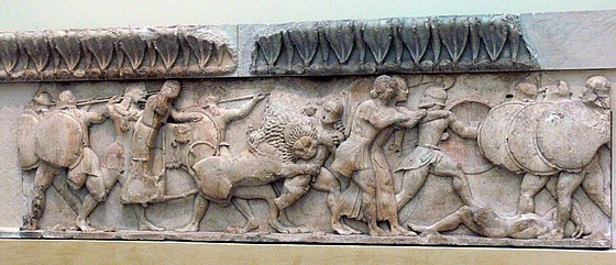 Section of the frieze from the Treasury of the Siphnians, now in the museum. 07Delphi Fries01 (cropped).jpg