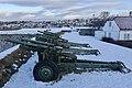 105 mm M101 howitzer Saluttkanoner Kronprinsessens bastion Kristansten festning Trondheim 2019-03-11 (These salute cannons were replaced in November 2019) 07875.jpg