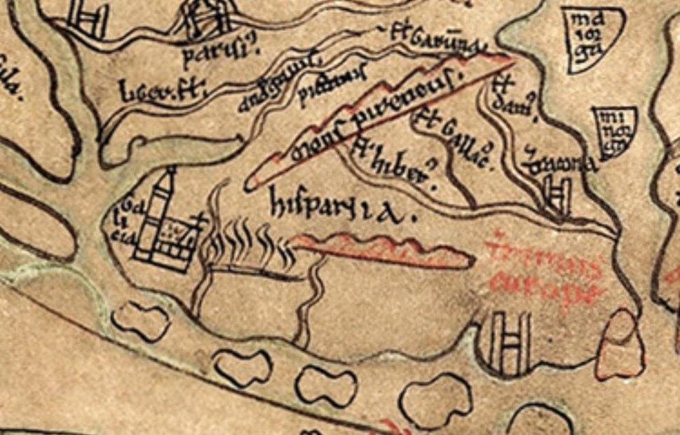 Imago Mundi de Honorius de Autum, editado por Henry de Mainz, onde se aprecian os nome de Galicia e á beira Hispania. Ano 1190.