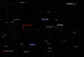 119 Tauri star in the constellation Taurus