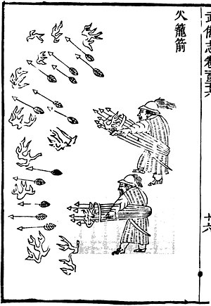 Multiple rocket launcher - An illustration of a handheld portable multiple rocket launcher as depicted in the 11th century book Wujing Zongyao of the Song Dynasty. The launcher is constructed using basketry.