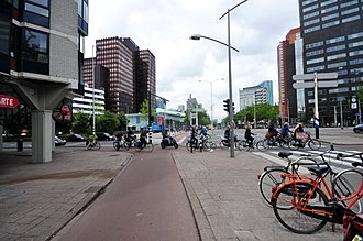 Protected intersection - A protected intersection in Rotterdam in the Netherlands. A safe way to cross the road on a bicycle.