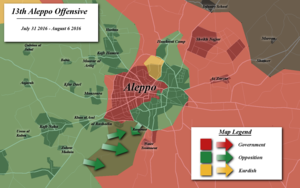 Aleppo offensive (July–August 2016) - Battle map of Aleppo during August 2016