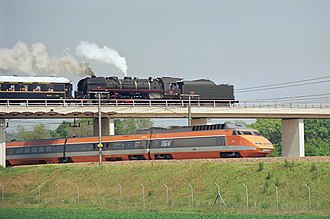 LGV Sud-Est - A TGV running on the line on 24 May 1987, in Saint-Germain-Laval, Seine-et-Marne