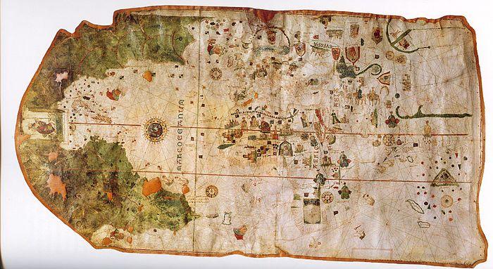 """På Juan de la Cosas kart fra 1500 er tegnet inn """"Cabo de Noroega"""". Commons."""