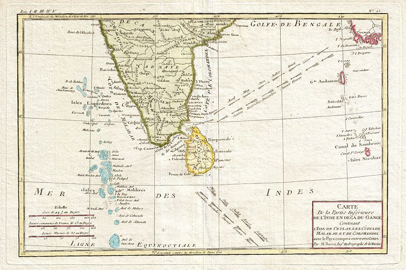 Carte Inde Maldives.File 1780 Bonne Map Of Southern India Ceylon And The