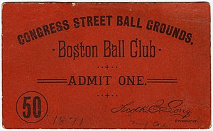 Congress Street Grounds - Congress Street Ball Grounds pass, 1891