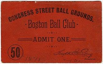 Congress Street Grounds - Congress Street Ball Grounds pass, 1891
