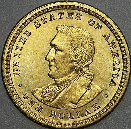 Clark depicted on the 1904-05 commemorative Lewis and Clark Exposition dollar 1904 Lewis and Clark dollar reverse.jpg