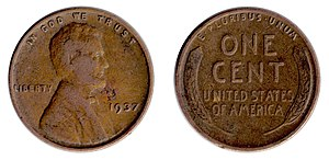 Penny (United States coin) - A 1937 Wheat cent