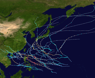 1954 Pacific typhoon season - Image: 1954 Pacific typhoon season summary map