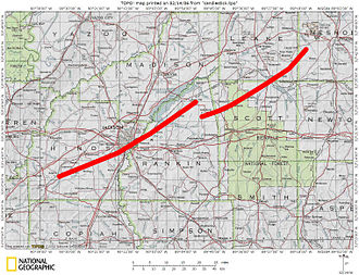 1966 Candlestick Park tornado - Revised map of the tornado across central Mississippi