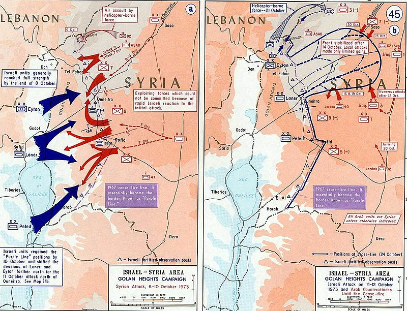 A map of the fighting on the Golan Heights 1973 Yom Kippur War - Golan heights theater.jpg