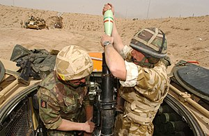 Royal Regiment of Fusiliers - A First Fusiliers Mortar team during the 2003 Invasion of Iraq