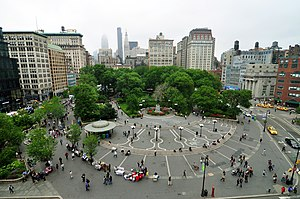 Union Square, Manhattan - Union Square looking north from 14th Street (May 2010)