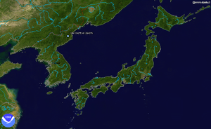2006 North Korean nuclear test - NASA Blue Marble Image of estimated location of the test (41.2943° N 129.1342° E)