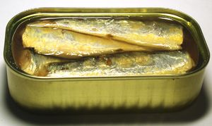 Canned sardines in salt water